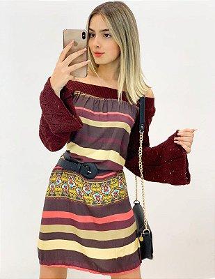 Vestido Manga Tricot Viscomalha