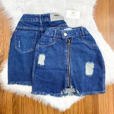 Saia Zíper Jeans