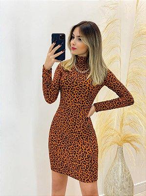 Vestido Canelado Animal Print