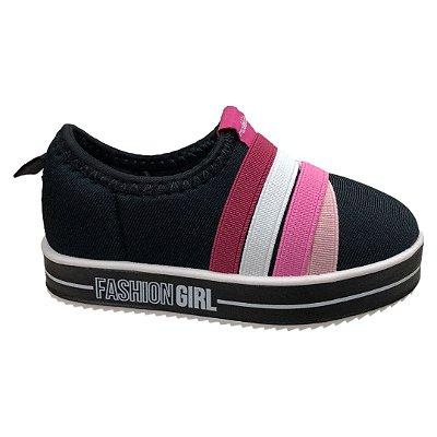 Tênis Infantil Menina Molekinha Lycra Perola Elastico Preto Cereja Branco Rosa Pink - 2131.509 - Preto