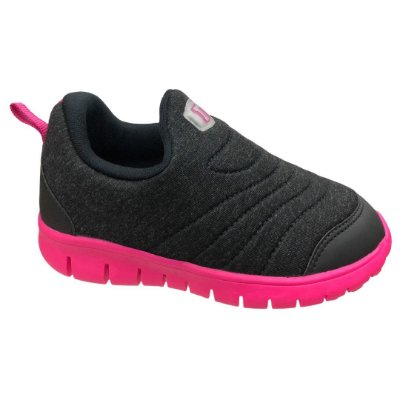 Tênis Menina Infantil Novopé Casual - 100N262 - Mescla Preto-Pink