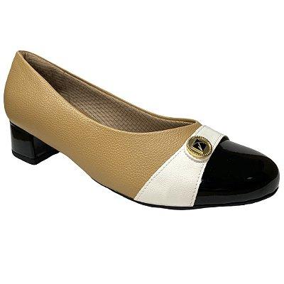 Sapato Feminino Piccadilly Scarpin - 141106-1 -  Pele-Vnz Preto-Np Branco
