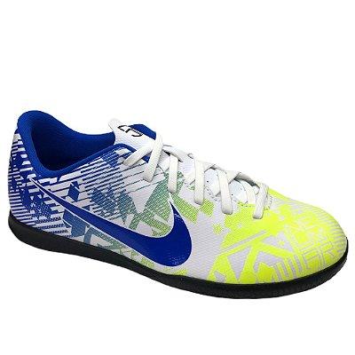 Tênis Infantil Nike Jr Vapor 13 Club Njr Ic Futsal - CV9352-104 - Branco-Azul