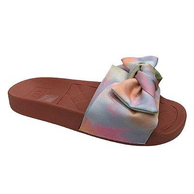 Tamanco Feminino Moleca Slide Tecido Tie Dye Aquarela - 5414.104 - Multi Color