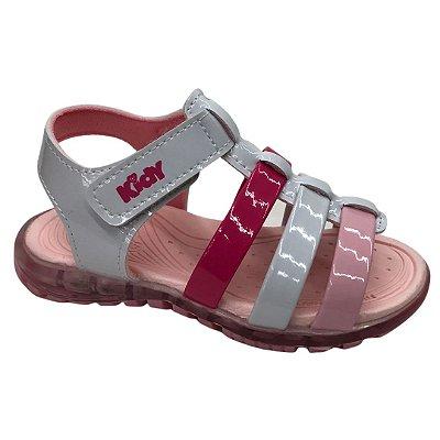 Sandália Infantil Menina Kidy Light - 163-1085-0017 - Branco-Rosa