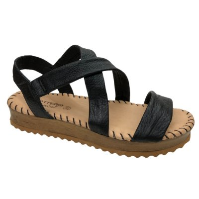 Sandália Feminina Bottero Couro Summer Burnish Botgarni Tropical - 322503-9 - Preto