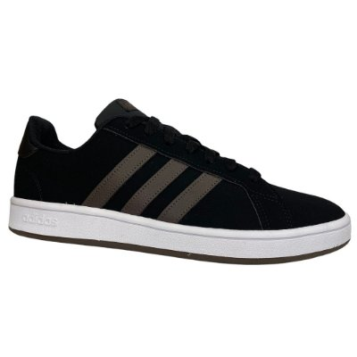 Tênis Masculino Adidas Grand Court Base - FV8480 - Preto-Marrom