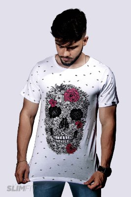 Camiseta Slim Fit Azor Skull and Roses Branca