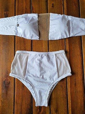 Biquíni Hot Pant Tomara que Caia Branco com Tule