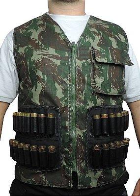 colete caçador cal 12 com cartucheira camuflado