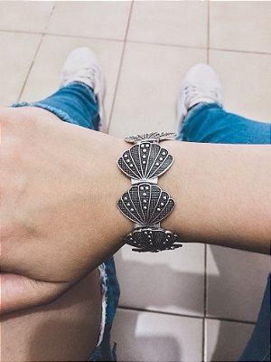 _Pulseira bracelete concha, mermaid, prateada - REF P035