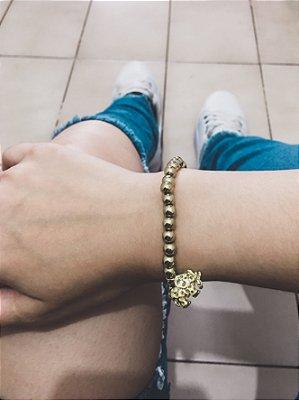 Pulseira AKIN, elefante, dourada brilho - REF P046