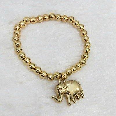 Pulseira AKIN, elefante, dourada - REF P023