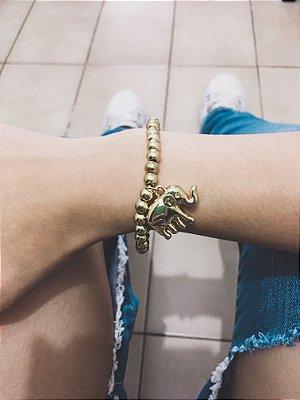 Pulseira AKIN, elefante, dourada - REF P049