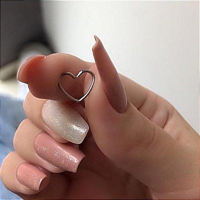 Piercing de furo, coração, prateado - REF X021