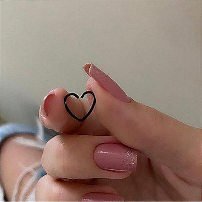 Piercing de furo, coração, preto - REF X022