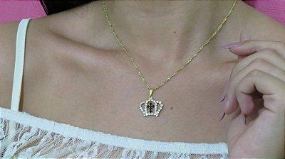 Correntinha coroa com crucifixo, strass, dourada