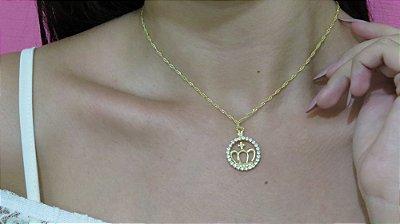 Correntinha ícone coroa, strass, dourada