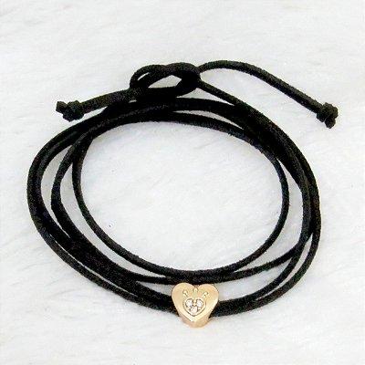 Pulseira courinho, heart, dourada - REF P036