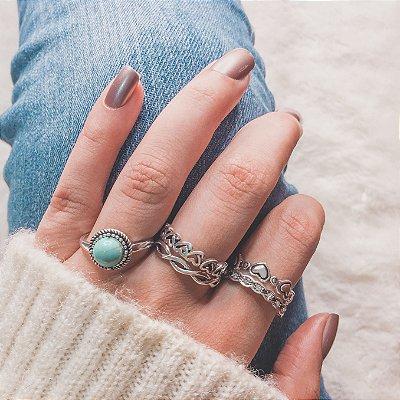 Conjunto de anéis com 5 peças, durban, turquesa, prateado - REF K007