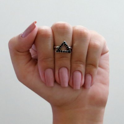 Anel de falange, turmalina, triangulo, prateado