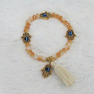 Pulseira sasha, mão de fátima dourada, areia - REF P043