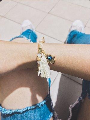 _Pulseira sasha, mão de fátima dourada, areia - REF P160