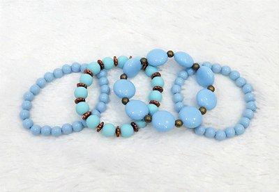 Conjunto de pulseiras, 4 peças, acqua - REF P045