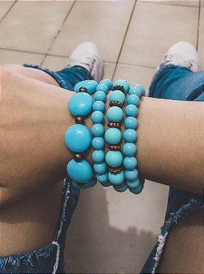 _Conjunto de pulseiras, 4 peças, acqua - REF P163