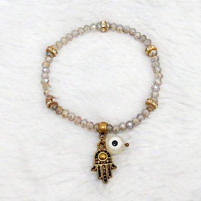 Pulseira cristal, mão de fátima, dourada - REF P192