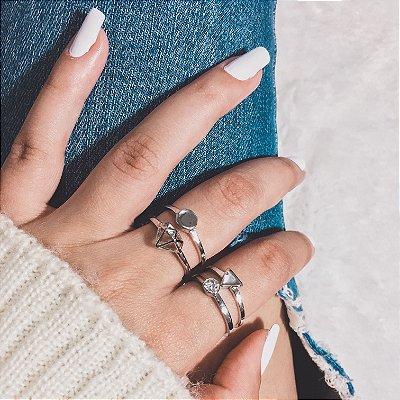 Conjunto de anéis com 4 peças, diamante, prateado - REF K011