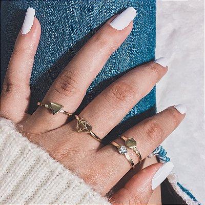 Conjunto de anéis com 4 peças, diamante, dourado - REF K012
