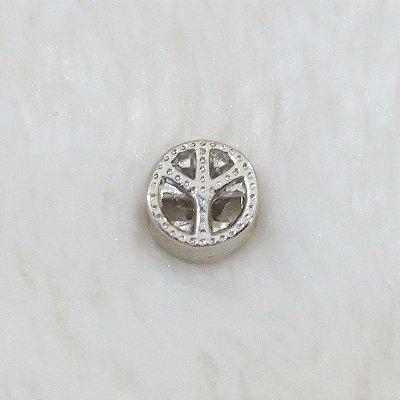 Berloque passante, símbolo da paz, prateado