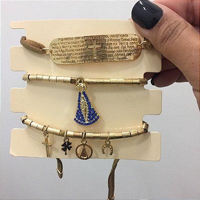 Conjunto de pulseiras, 3 peças, blessed, dourada - REF P060