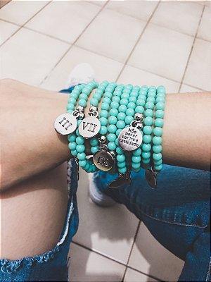 _Conjunto de pulseiras dream, 10 peças, 10 mandamentos, turquesa  - REF P297