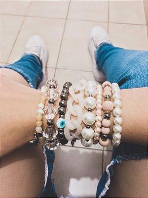 Conjunto de pulseiras joy, 8 peças, símbolo da paz, cruz - REF P300