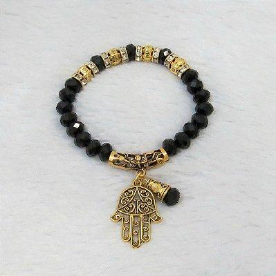 Pulseira wonderful, mão de Fátima, preta, dourada - REF P313