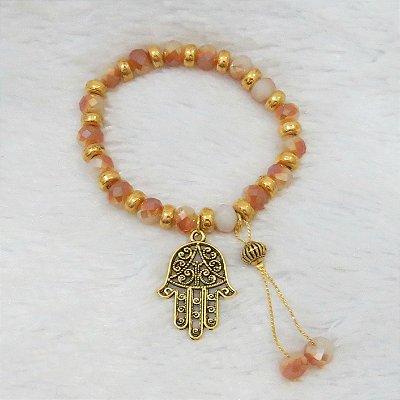 Pulseira wonderful, camaleoa, mão de Fátima, dourada - REF P067