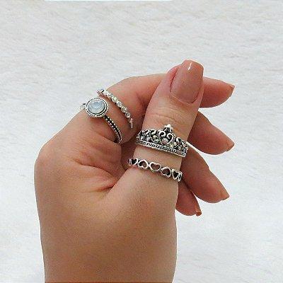 Conjunto de anéis com 4 peças, amada queen, prateado - REF: K014