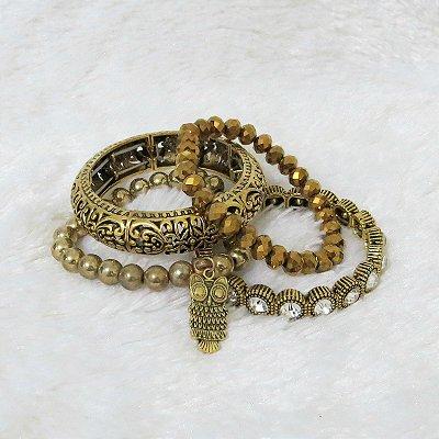 Conjunto de pulseiras freedom, 4 peças, coruja - REF P069