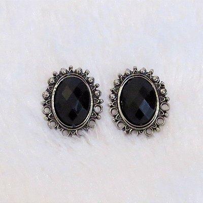 Brinco New Collection - pedra preta - - REF B046