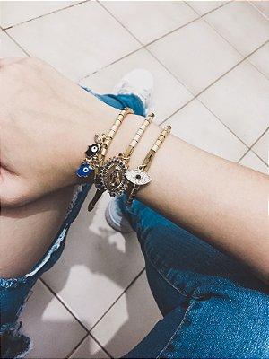 _Conjunto de pulseiras, santa fé, 3 peças, olho grego, dourada - REF P380