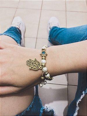 _Pulseira wonderful,mão de fátima e olho grego, pérola, dourada - REF P387