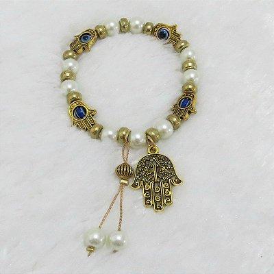 Pulseira wonderful,mão de fátima e olho grego, pérola, dourada - REF P079