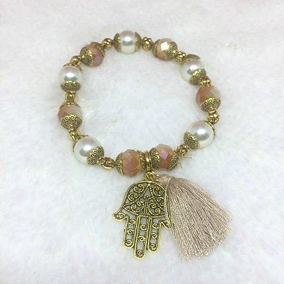 Pulseira wonderful, mão de fátima, pérola, dourada - REF P080