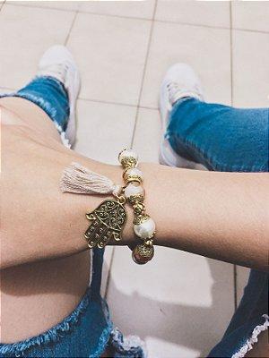 Pulseira wonderful, mão de fátima, pérola, dourada - REF P388