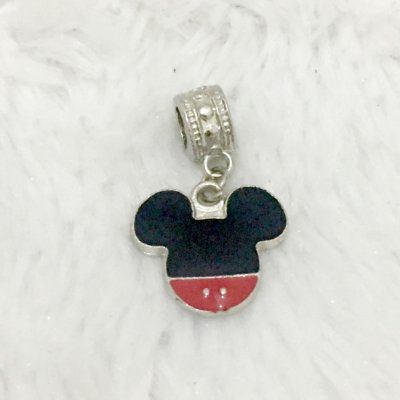 Berloque pingente, mickey mouse, prateado
