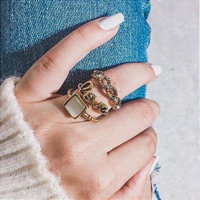 Conjunto de anéis com 3 peças, love, dourado - REF K024