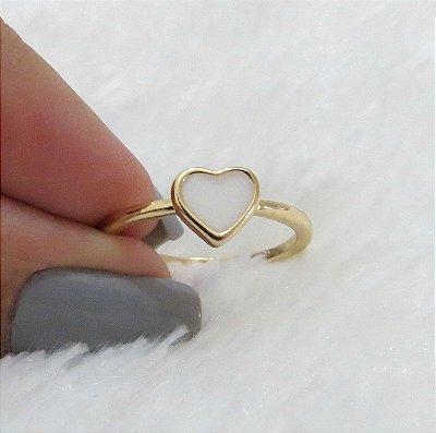 Anel corazon, solitário, dourado - REF A055