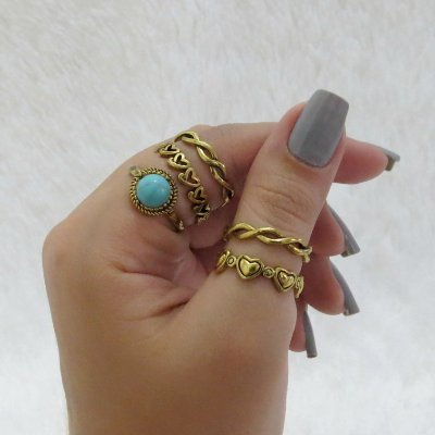 Conjunto de anéis com 5 peças, durban love, turquesa, dourado - REF: K025
